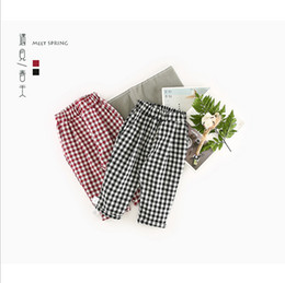 Wholesale Stocking Pants - IN stock 2 color 2018 INS hot selling new arrival baby kids spring summer cute Lattices of leisure Haren pants free shipping