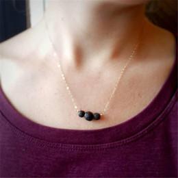 Wholesale three circles pendant - Three Lava-rock Bead Pendant Necklace Aromatherapy Essential Oil Diffuser Necklaces Black Lava Pendant Jewelry Women Fashion Choker B270