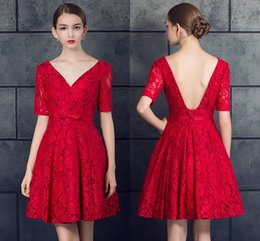 Wholesale Small Hourglasses - New Red Lace Deep V-Neck Formal Evening Dresses Short Fashion Halter Strap Small Dress Prom Party Dresses HY068