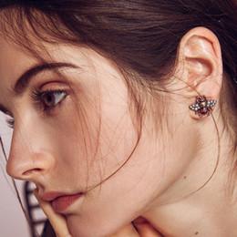Wholesale vintage animal pin rhinestone - New Luxury Brand Retro Bee Stud Earring Brand Designer Rhinestone Pearl Insect 925 Silver Pin Ear Stud Vintage Earring for Women