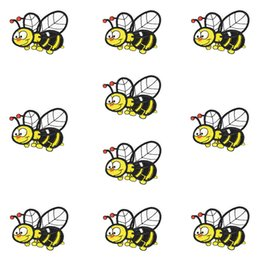 Wholesale Kids Funny Clothing - 10PCS Funny Bee Embroidered Patches for Clothing Bags Iron on Transfer Applique Patch for Jeans Sweater Kids DIY Sew on Embroidery Stickers