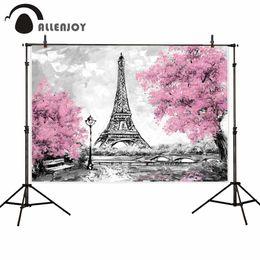 pintura a óleo fundo preto Desconto Allenjoy pano de fundo para estúdio fotográfico paris cidade paisagem torre eiffel preto branco estilo fundo pintura a óleo photocall