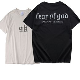 Wholesale Letters Magazine - Fear Of God T Shirt Novelty Men Sandcastle Kings Tshirts 2018 New Kanye Sand Color Sk Summer Style Magazine Hip Hop T-Shirt