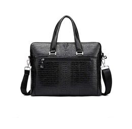 Wholesale Black Leather Laptop Briefcase - genuine leather handbags for men 2018 new arrival luxury men business bags 2018 briefcase laptop bag for men
