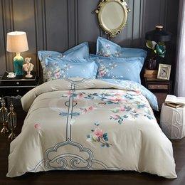 letti king size set elegante Sconti Elegante set di biancheria da letto orientale magnolia 4 pezzi regina king size 100% cotone stampato copripiumini lenzuola federa tessile set