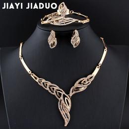 elegante halsketten perlen Rabatt ganze salejiayijiaduo Hochzeit Schmuck-Set afrikanische Perlen Gold-Farbe Halskette Ohrringe Armband Winter für Frauen elegantes Kleid Zubehör