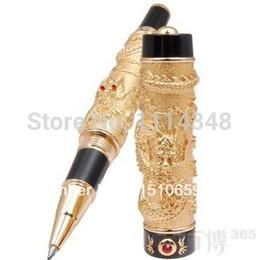 Wholesale Dragon Pen Ball - Luxury Roller Ball Pen Jinhao Chinese Dragon   Loong Golden Basso-relievo Medium Nib