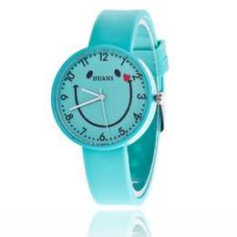Wholesale Girls Smile Face - Fashion love smile face silicone rubber kids children watches 2018 wholesale girls women dress quartz gift candy wrist watches