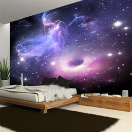Papel pintado para paredes estilo europeo online-Custom Mural 3D Room Wallpaper European Style Galaxy Cloud Mural de pared Fluorescente Wallpaper Living Room Sofa Telón de fondo Decoración Del Hogar