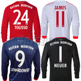 Wholesale Goalkeeper Long Sleeve - 2017 18 Home Away Third Goalkeeper Long Sleeve Soccer Jerseys Lewandowski James Müller Robben Futbol Camisa Camisetas Shirt Kit Maillot