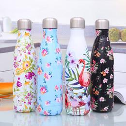 500 мл фламинго принт кола бутылка ананас из нержавеющей стали теплоизоляция кола кубок с изоляцией с двойной стенкой вакуумная бутылка для воды от