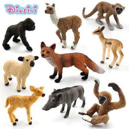figures d'animaux de la forêt Promotion Simulation forêt animaux en plastique sauvage modèle modèle Alpaga Warthog mouton chimpanzé Cerf Fox antilope singe Gibbon figurine jouet