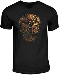 Wholesale cotton candy sugars - Cotton Shirts Rhinestone Studs Sugar Skull T Shirt Mens Gold on Gold Candy Skull Tee S to 4XL Printed T Shirts Men's Streetwear
