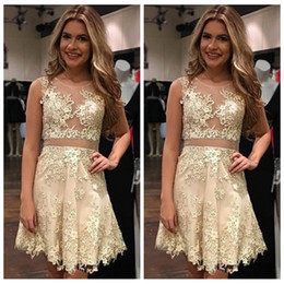 Wholesale Short Crystal Bodice Prom Dresses - 2018 Sheer Champagne Mini Short Homecoming Dresses Lace Appliqued Illusion Bodices Short Prom Gowns Beaded Party Cocktail Dresses Cheap