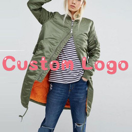 Wholesale Quilted Sleeves - Custom Logo Winter Female Hip Hop Streetwear Quilted Coat Women Parka Long Bomber Jacket Olive Green Pink