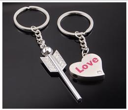 Colhedores para casais on-line-Casal Chaveiro Seta para Desgastar Coração Amor Keychain Ornamento para Bolsas ou Pacote de Escola Chave Titulares Lanyards Logotipo Personalizado Livre DHL G654Q