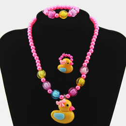 Wholesale Bead Setting Diamonds - Children Flower Butterfly Duck JEWELRY SET GIRL MIXED CUTE BEADS NECKLACE BRACELET SET New Baby Kids Gifts
