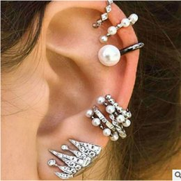 crown stud settings Coupons - Bohemia Women Retro Silver Ear Clip 9 Pcs Set Diamond Earrings Sets Stud Dangle Earrings Crown Stud Earrings Fashion Jewelry Free DHL H15R