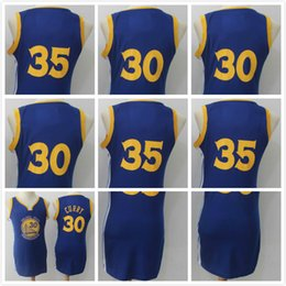 Wholesale Jersey Tops For Women - 2017-18 New GSW 35 Kevin Durant 30 Stephen Curry Fans Version Basketball Jerseys For Women Blue S-XXL Top Quality Wholesale