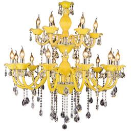 Argentina Lámparas de cristal modernas Lámparas de techo de luz de araña amarilla limón Lámparas de cristal de alta calidad K9 E14 para hotel Suministro