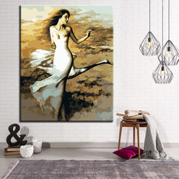 Wholesale Female Figure Abstracted - Swan With Female Dancer DIY Painting By Numbers Wall Art Kits Drawing Girl Oil Pictures On Canvas For Living Room Decor Artwork
