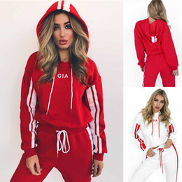 Wholesale volleyball hoodies - Women 2Pcs Hooded Crop Tops + Casual Pants Set Tracksuit Hoodie Sportswear Suit
