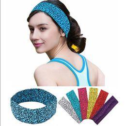 Wholesale Sports Hair Bandanas - Women Lady Yoga Elastic Leopard Print Hairband Turban Headband Head Wrap Outdoor Sports Running Elastic Hair Bands LJJO4484