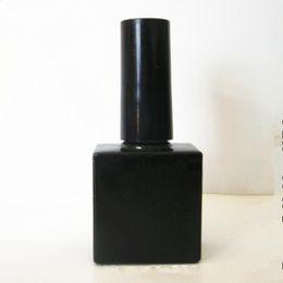 Nagelöl flaschenbürste online-10ml leere schwarze Nagellack Glasflaschen mit Pinsel 10cc Quadrat Glasflasche für Nagellack, ätherisches Öl Glasflasche F293