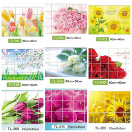 Wholesale Wall Decorations Tulips - Wholesale- Home Decoration Accessories Waterproof Aluminum Foil Wall Sticker Tiled Kitchen Bathroom Wall Decoration Tulip Flower Rose