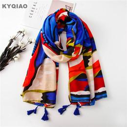 Wholesale korea painting - KYQIAO Women scarf female autumn spring South Korea fashion fresh long abstract painting print scarves birthday gifts
