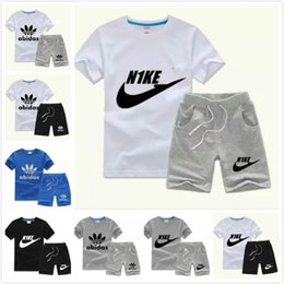 Wholesale Toddler Sport Pants - New Summer Brand Baby Boys Girls Clothing Set Letter Top T-Shirt+Pants Kids Toddler Infant Casual Short Sleeve Sport Suits Children Clothes