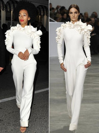 Wholesale Celebrity Jumpsuits - 2018 Sexy White Leg Jumpsuit Long Sleeves High Neck with Flowers Formal Party Evening Dresses Custom Made New Arrival Celebrity Dresses