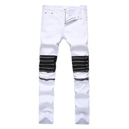 Wholesale Repair Body - 2018 new fashion spring men's high street jeans zipper ornament white body repair straight tube elastic small feet pants