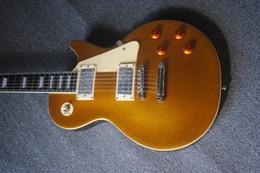 guitare électrique oem st Promotion Livraison gratuite gisten Standard Goldtop guitare électrique, couleur de poudre d'or avant, guitare en acajou massif, manche de guitare Binding