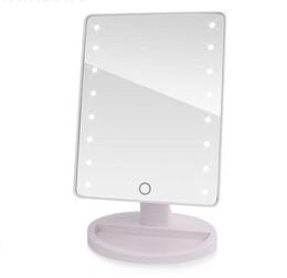 folhas de plástico redondas Desconto Espelho de vaidade profissional do espelho da composição da tela de toque do diodo emissor de luz com 16/22 Luzes de LED da bancada ajustável da beleza da saúde 180 de giro