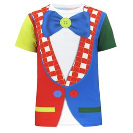 Wholesale Clown Clothes - Men Circus Clown 3D T Shirt Carnival Cosplay Top Short Sleeve Clothes
