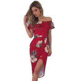 0e42316758ea3 Bayan Yaz Baskı Shift Elbise Seksi Kapalı Omuz Çiçek Elbise Bayanlar Yaz  Düzensiz Bölünmüş Ruffles Plaj Elbiseleri # L