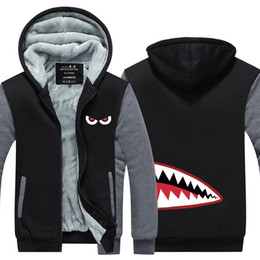 8172224538fd Shark Head Style Winter Cashmere Hoodie Zipper Jacket Leisure Sweatshirts  Thicken Cardigan Coat Long Sleeve Tracksuit Pullovers Tops