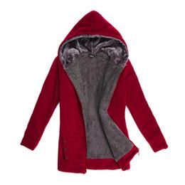 Manteau d'hiver rouge femme en Ligne-Hiver Sexy Designer Vestes avec Zipper Femmes Noir Rouge Gris Veste À Manches Longues Manteau Lâche M-3XL