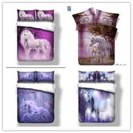 Wholesale Purple Quilt King - Unicorn Quilt Duvet Doona Cover Set Twin Full Queen King Size Animal Bedding Set Free Shipping