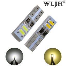 Wholesale Toyota Canbus - WLJH 50PCS Canbus T5 LED B8.5d W3W LED Car Auto LED Indicator Gauge Dashboard Car Light Bulb White Warm White Light source