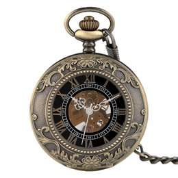 Wholesale Hand Carved Necklace - Classic Pendant Chain Hand Winding Mechanical Pocket Watch Men Steampunk Skeleton Women Carving Necklace Clock Xmas Gift