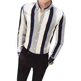 Рубашки для мужчин бесплатно онлайн-Autumn New Pattern Man Long Sleeve Blue Stripe men Shirt Casual Print Party Tops  clothing Free shipping