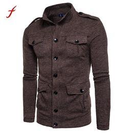 Wholesale Black Turtleneck Jacket - Men's Cardigan sweatshirt 2017 Autumn and Winter woolen Turnleneck pullover high quality Male cotton Button slim fit jacket