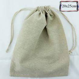 2019 papier de velours en gros Personnalisez la taille logo (30pcs / lot) 20x25cm / 7.88 10 pouces 170g / m2 sac en lin naturel coton cordon sac promotionnel pochette de cadeau