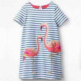 Tierdruck baby mädchen kleider online-Baby Mädchen Flamingo Kleid Kinder Kurzarm langes Kleid Kind blau Gestreiftes Kleid Tier gedruckt Baumwolle Kleider