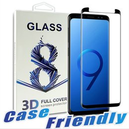 Wholesale Free Packages - For Samsung S9 S9 plus Case Friendly Tempered Glass Bubble Free Full Cover 3D Screen Protector For Samsung Note 8 S8 S7 With Package