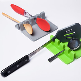 Wholesale Green Lids - Silica Gel Fork Spoon Mat Square Non Slip Pan Lid Silicone Holder Easy To Clean Tasteless Spatula Racks Green 6xr B