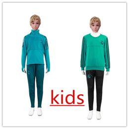 Wholesale Turtleneck Collar Kids - 2018 Spain Training Suit kids Soccer Jersey Real Madrid Jerseys Lucas Vazquez Children's football sweater green blue turtleneck collar suit