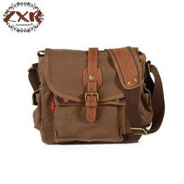 Wholesale Leather Military Satchel - Fashion Men's Shoulder Bag Canvas Leather Belt Vintage Military Male Small Messenger Bag Casual Travel Crossbody Bags